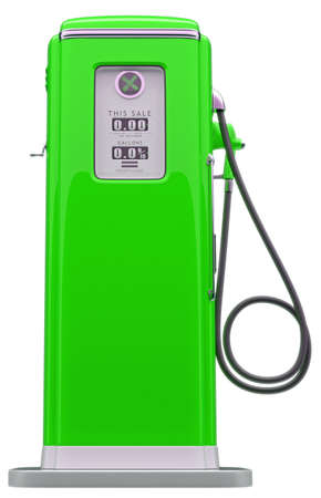 Vintage green fuel pump isolated over white background. Side view photo