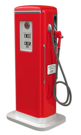 白い背景の上に孤立したビンテージの赤い燃料ポンプ。横から見た図