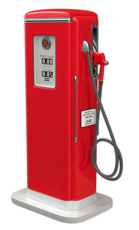 Vintage Red fuel pump isolated over white background. Side view photo