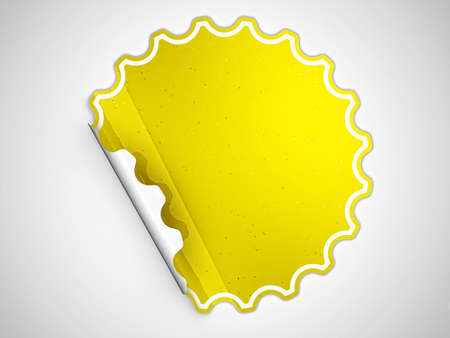 hamose: Yellow round hamous sticker or label over grey spot light background