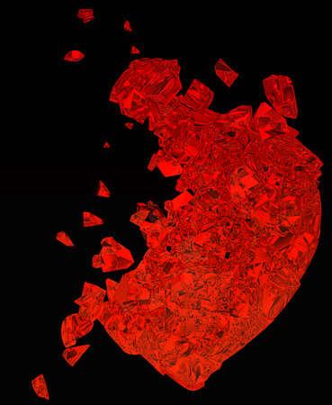 unrequited love: Coraz�n roto: amor no correspondido, muerte, enfermedad o dolor. Aislado en negro