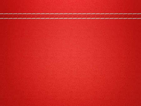 赤のステッチ レザー背景。大解像度