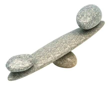forcemeter: Balance: Pebble stability scales with large and small stones Stock Photo