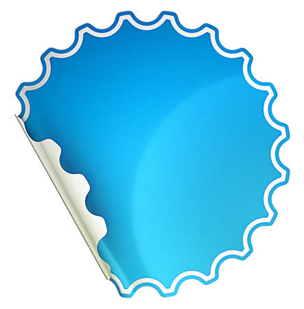 hamous: Blue bent round sticker or label over white background