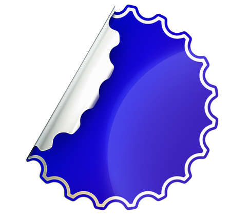 hamous: Blue round jagged sticker or label over white background