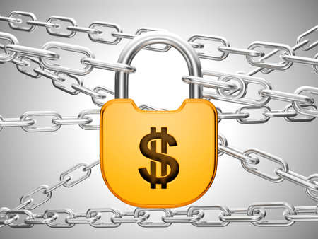 doorlock: US Dollar currency safety concept: padlock and chains Stock Photo
