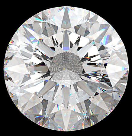 Edelsteen: bovenaanzicht van ronde diamant geïsoleerd op zwart