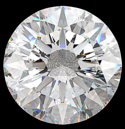 round brilliant: Gemstone: top view of round diamond isolated on black
