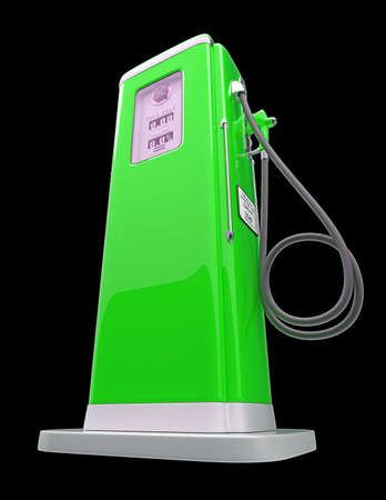 fuel pump: Green gas pump isolated over black background. Bottom side view