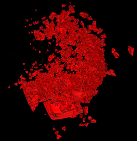 unrequited love: Red Broken Heart: unrequited love, death, disease or pain. Isolated on black