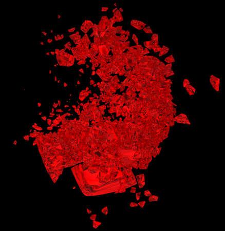 unrequited love: Rojo coraz�n roto: amor no correspondido, muerte, enfermedad o dolor. Aislado en negro Foto de archivo