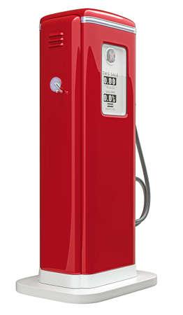 old service station: Pompa rossa della benzina isolato su sfondo bianco. In basso vista laterale