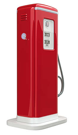 Red gas pump isolated over white background. Bottom side view photo