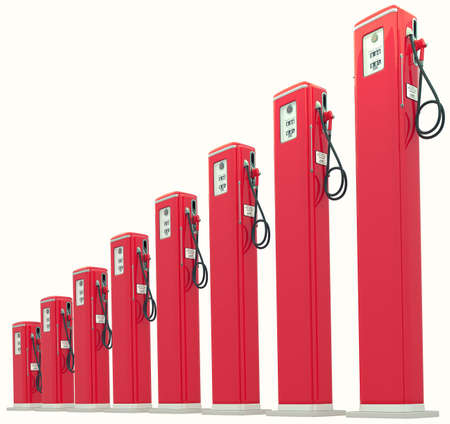 fuel crisis: Red gasoline pumps chart: Rise in fuel cost. Isolated on white