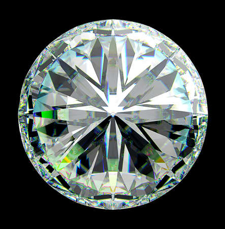 Top view of round diamond with green sparkles isolated over black photo
