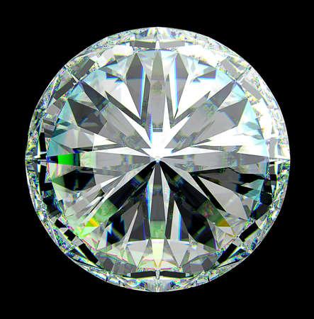 prisma: Vista superior del diamante redondo con destellos verdes aislado sobre negro