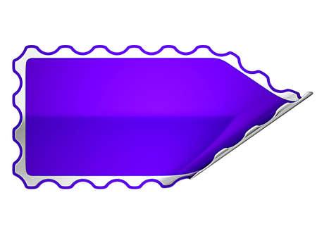 hamose: Violet hamous sticker or label over white background