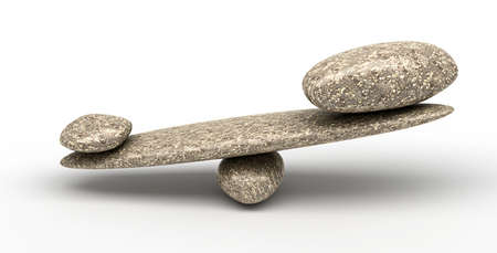 fulcrum: Weighty thing: Pebble stability scales with large and small stones Stock Photo