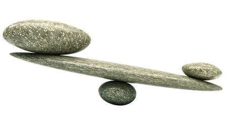 Balancing: Pebble stability scales with large and small stones Stockfoto
