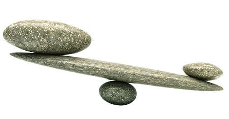 balanza: Equilibrio: Estabilidad de Pebble balanzas con piedras grandes y peque�os Foto de archivo