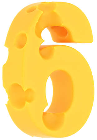 Cheeze font 6 number isolated over white background photo