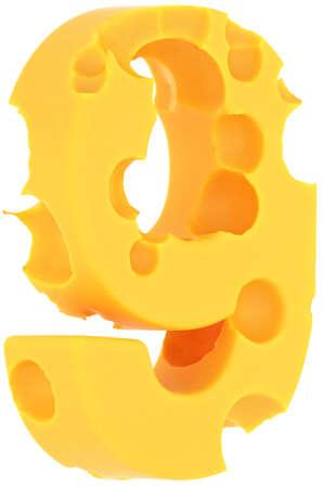 numero nueve: Número de fuente 9 Cheeze aislada sobre fondo blanco