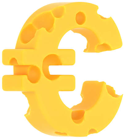 emmental: Cheeze font euro currency sign isolated over white background