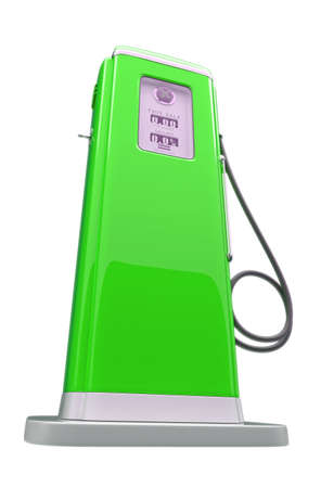 refuel: Retro green gasoline pump isolated over white background Stock Photo