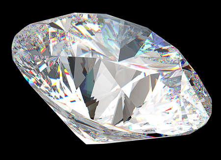 Ronde diamant: top zijaanzicht geïsoleerd op zwart Stockfoto