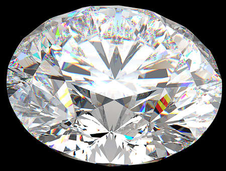 Top side view of large round diamond isolated over black photo