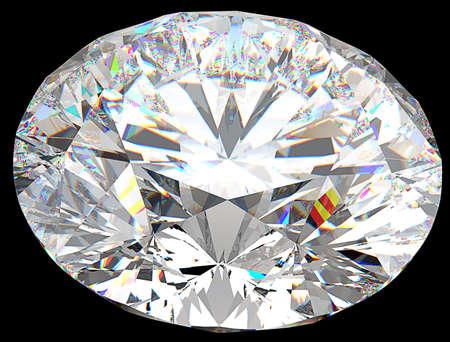 prisma: Vista superior de gran diamante ronda aislado sobre negro Foto de archivo