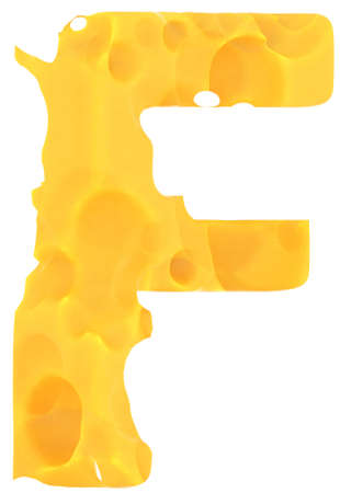 Cheeze font F letter isolated over white background photo