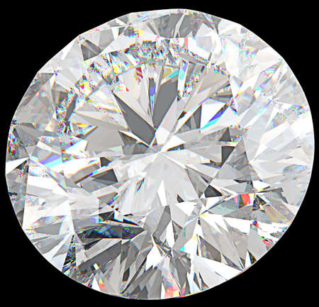 top: Close-up of large round diamond or gemstone isolated over black Stock Photo