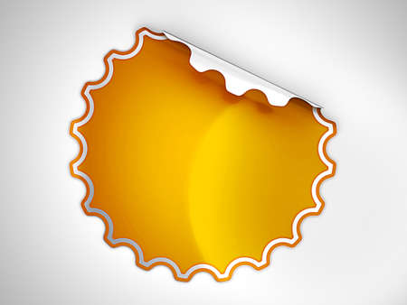 hamous: Orange round hamous sticker or label over grey spot light background Stock Photo