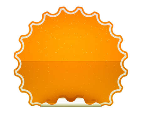 hamous: Orange spotted hamous sticker or label over white background
