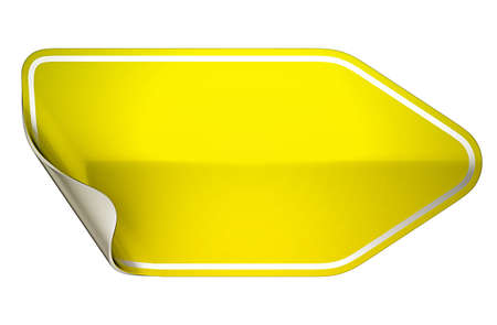 hamose: Yellow hamous sticker or label over white background