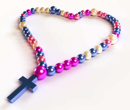 Abstract colorful rosary beads over white background photo