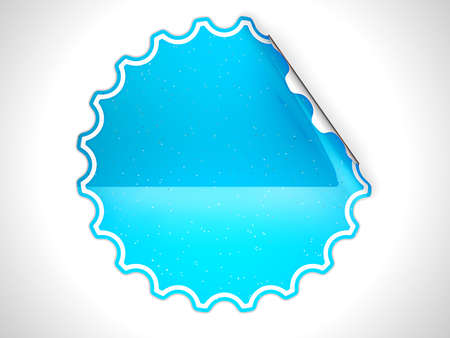 hamous: Blue round bent sticker or label with spots over grey spot light background