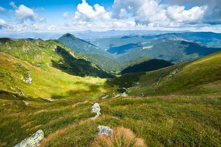 Carpathian mountains landscape in Ukraine and blue sky in summer