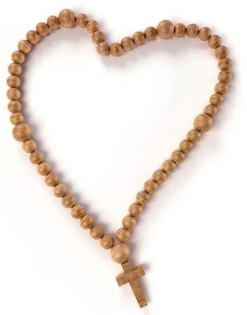 różaniec: Koronka lub Różaniec ksztaÅ't kulki serce na biaÅ'ym tle