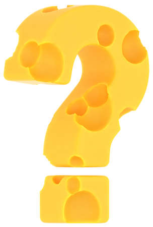 emmental: Cheeze font query mark isolated over white background