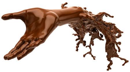 白い背景の上に孤立したチョコレート: 液体手の形