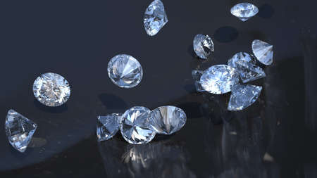 Large group of diamonds rolling over with reflection  photo