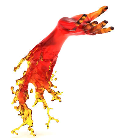 lend a hand: Lending somebody a helping hand: red liquid shape over white background