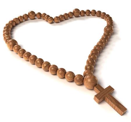 Rosary beads heart shape over white background