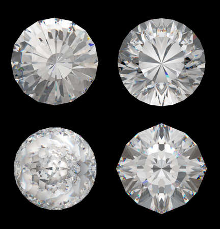 Top views of large diamonds over the black background photo