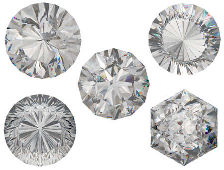 round brilliant: Top views of round and hexagonal diamond cuts over white background