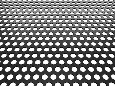 orifice pattern: Grey Aluminum grill with holes over white background