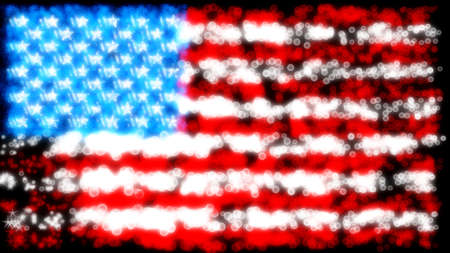 Holiday: glittering and sparkling USA flag over black photo