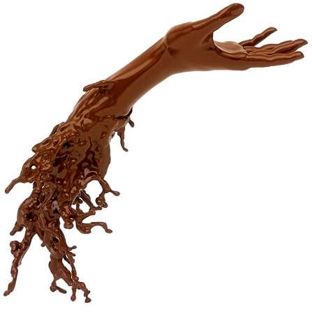 Hot liquid chocolate hand isolated over white background